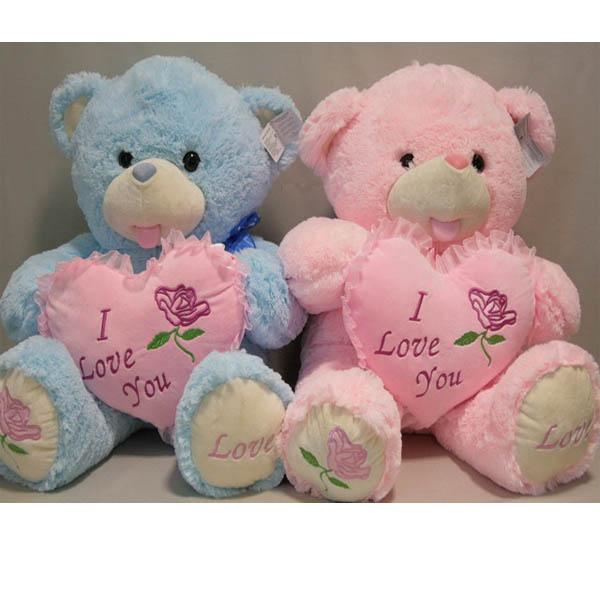 Мишка розовый голубой с сердцем арт. 92018