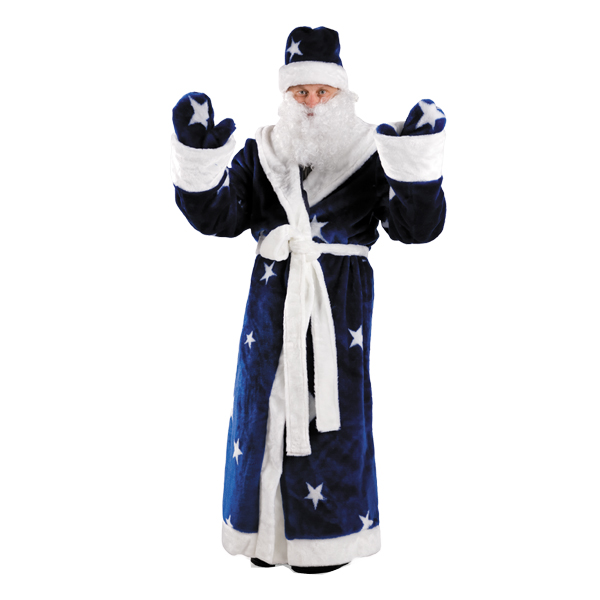 Карнавальный костюм Дед Мороз (мех, синий)