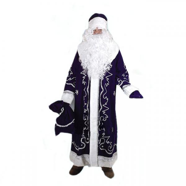 Костюм Дед Мороз Боярский синий (бархат с орнаментом)