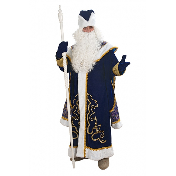Дед Мороз с пелериной синий (бархат, парча)