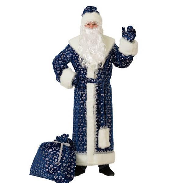Костюм Дед Мороз плюш синий