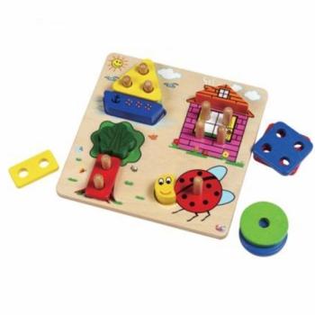 Детская развивающая игра Сортер с колышками Предметы