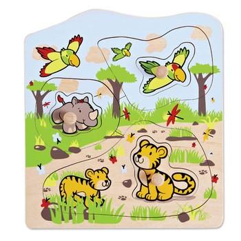 Детская развивающая игра Пазлы вкладыши Джунгли