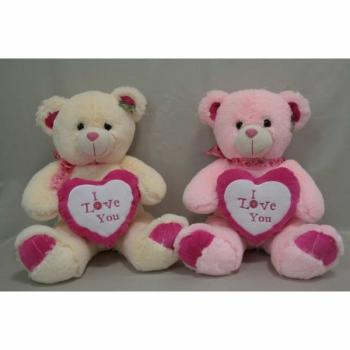 Мягкая игрушка Медведь с сердцем бежевый и розовый арт. 95028