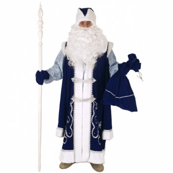 Костюм Дед Мороз с рубахой синий